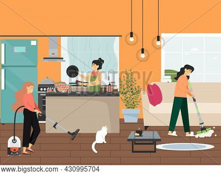 Home Cleaning, Flat Vector Illustration. People Cleaning Kitchen, Washing Dishes. Housekeeping And D