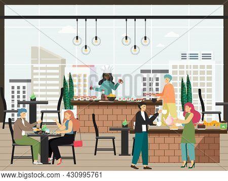 Hotel Guests Having Dinner At Cafe Or Restaurant, Flat Vector Illustration. Hotel Food Service.