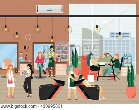 Female Characters In Hair And Beauty Salon, Flat Vector Illustration. Hairstyle, Haircut, Manicure.