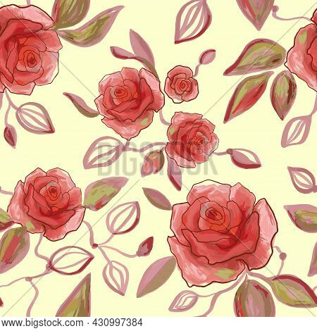 Hand Drawn Watercolor And Line Art Floral Seamless Pattern With Tender Pink Peonies, Roses In Vector