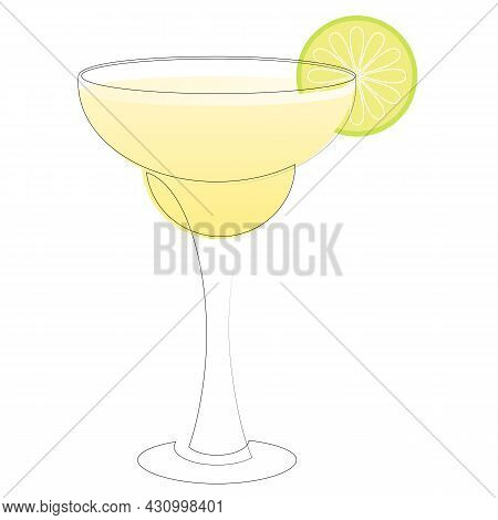 Continuous One Line Drawing Of Alcohol Cocktail Margarita. Linear Stylized. Minimalist. Summer Conce