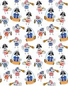 Seamless background with mouses pirates on a white background poster