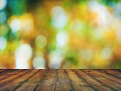 bright background, autumn bokeh and wooden floor poster