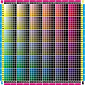 the test table palette CMYK in increments of 20 points for printing equipment poster