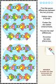Picture puzzle: Find the seven differences between the two pictures of cute little fish. Answer included. poster
