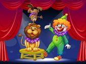 Illustration of a clown with animals at the stage poster
