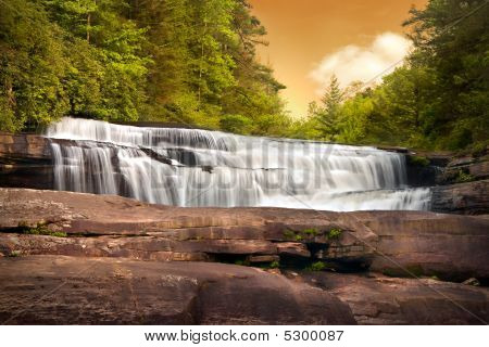 Motion Blur Waterfalls Nature Landscape In Blue Ridge Mountains Sunset
