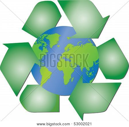 Recycling arrows around the planet Earth
