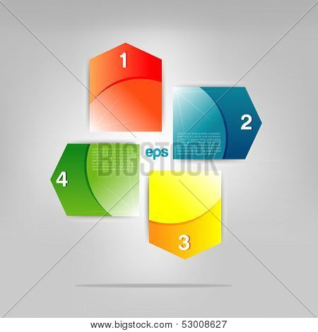 Set of Colorful Bubbles for Speech Vector Design. 1,2,3,4 steps text boxes. Infographic.