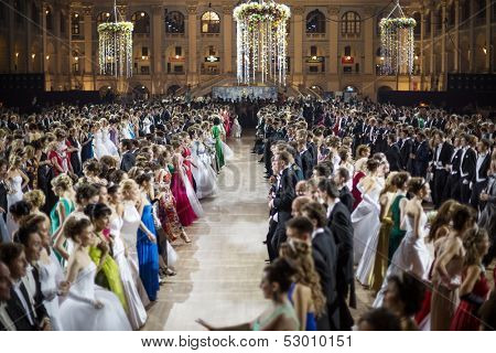 MOSCOW - MAY 25: Girls in dress and men in suits at 11th Viennese Ball in Gostiny Dvor on May 25, 2013 in Moscow, Russia.