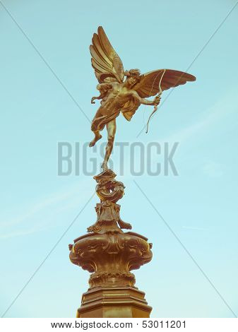 Vintage look Piccadilly Circus with statue of Anteros aka Eros in London UK poster