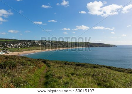 Praa Sands Cornwall England near Penzance and Mullion on the South West Coast Path