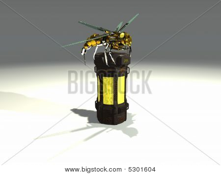 a mechanical wasp atop a chemical container poster