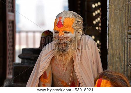 Sadhu man, a holy Hindu man in Pashupatinath, Nepal