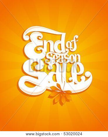 End of autumn season sale typographic vector illustration.