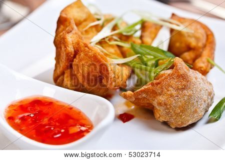 Indian Appetizer - Crispy Chicken Wontons