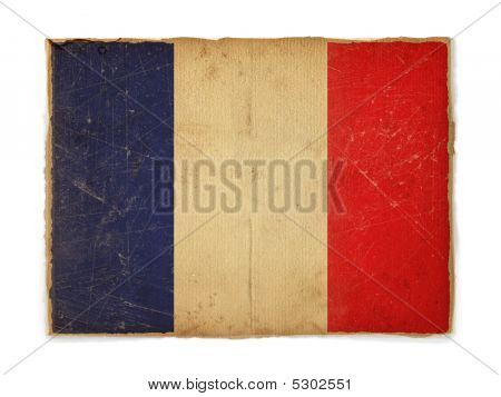 old weathered flag of France paper textured poster