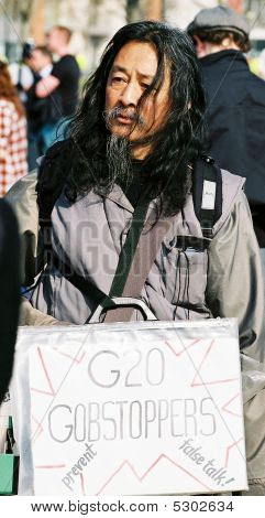 Protestor At The G20 Summit Protests In London Uk