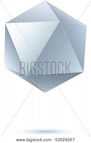 grayscale icosahedron for graphic design