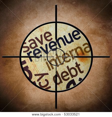 Close up of target on grunge background with conceptual image on poster