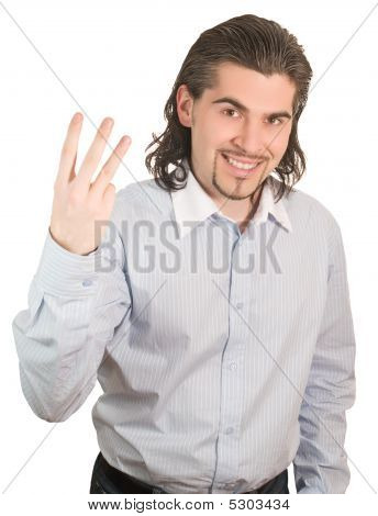 Young Handsome Guy Counts On His Fingers Three Isolated White