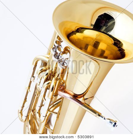 Brass Tuba Euphonium Isolated  On White
