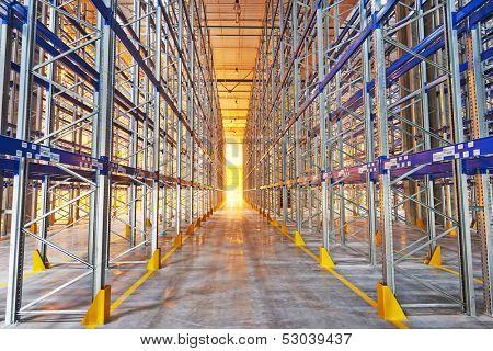 steel shelves rack in new modern large warehouse