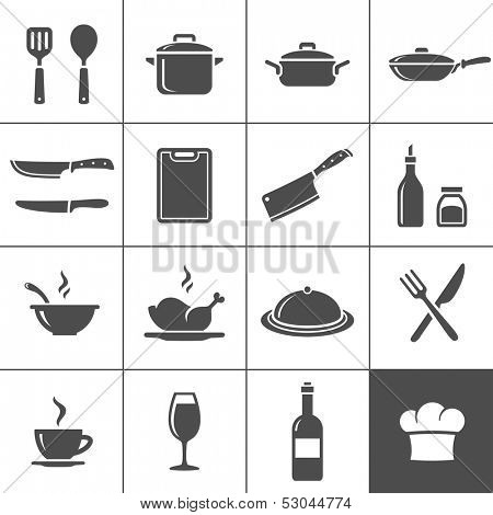 Restaurant kitchen and cooking icons. Simplus series. Vector illustration