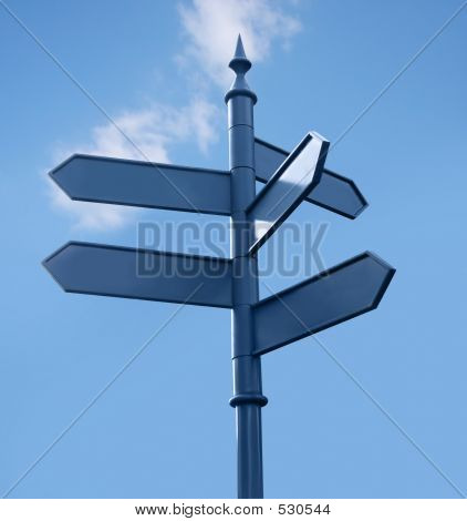 Streetsign In The City, 5 Directions, Sky