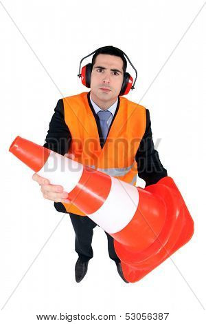 Stern man with ear defenders