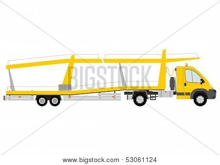 Silhouette of yellow car transporter on a white background. poster