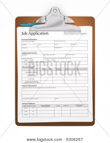 Isolated Clipboard With Job Application
