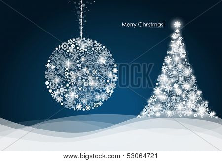 Christmas ball and Christmas tree with snowflakes. Vector illustration.