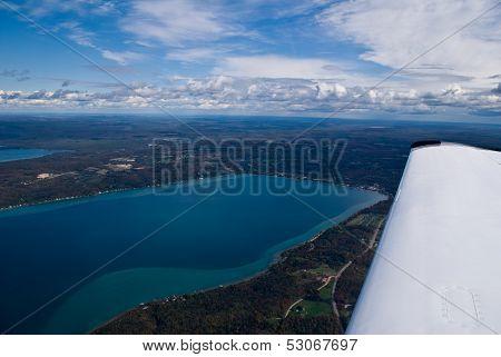 Aerial Photograph Crystal Lake Michigan