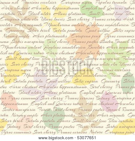 Seamless pattern with leaves and text