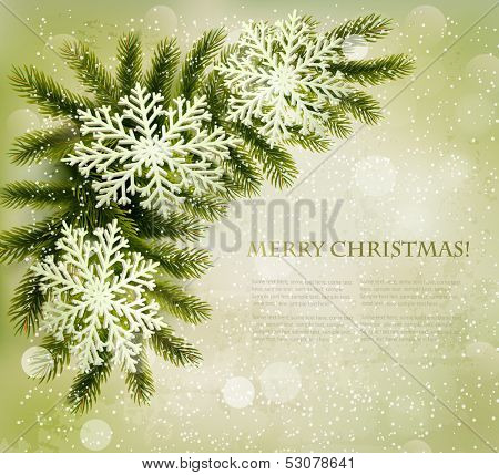 Christmas retro background with christmas tree branches and snowflakes. Vector