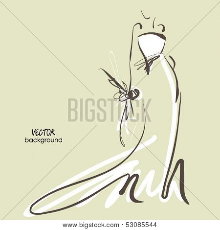 art sketch #7 of beautiful young  bride in white dress and with the bride's bouquet. Vector background with space for text.