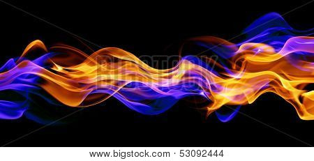 Blue and red fire isolated on black background