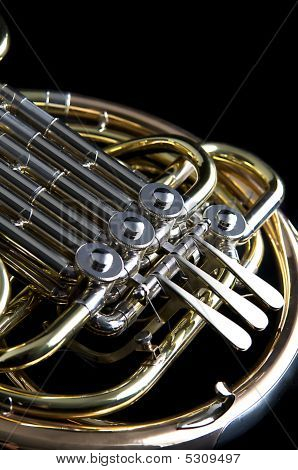 French Horn Isolated  On Black