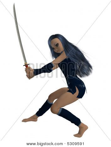 Girl Holding A Sword
