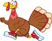 Happy Turkey Bird Cartoon Mascot Character Jogging poster