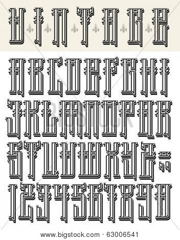 Vintage style font-big letters and numbers. Raster version