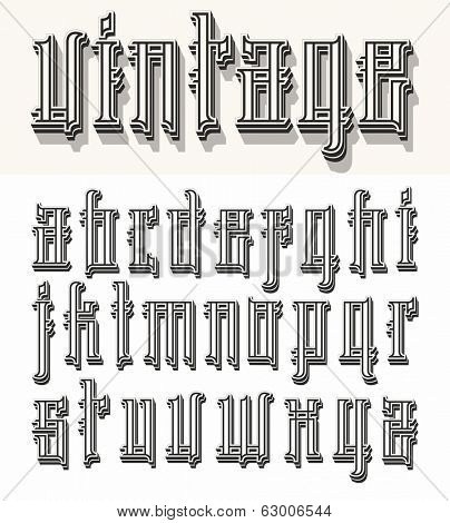 Vintage style font- small letters. Raster version