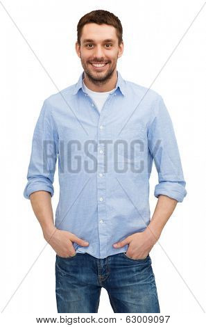 happiness and people concept - smiling man