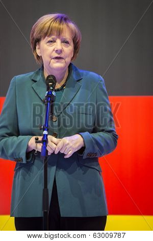 HANOVER, GERMANY - APRIL 7:  Chancellor Angela Merkel speeching at the opening of Hannover Messe. April 7, 2014. The Hannover Messe is the largest industrial trade fair in the world