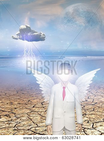 Winged figure with obscured face in surreal landscape