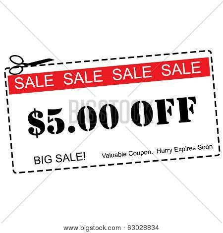 Five Dollars Off Sale Coupon