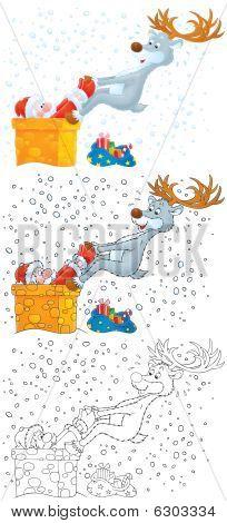 Reindeer extricates Santa that got stuck in chimney