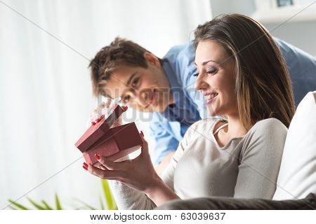 Romantic Couple With Present