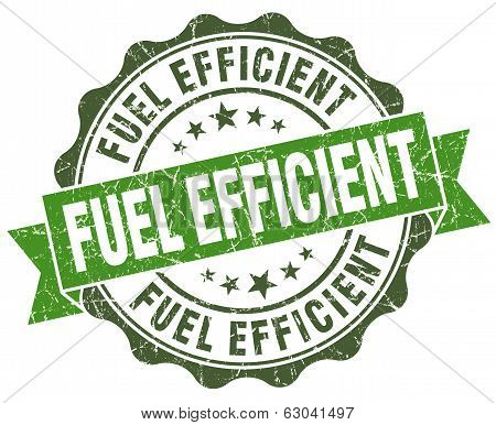 Fuel Efficient Green Grunge Retro Vintage Isolated Seal